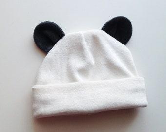 Organic Bamboo Velour 0-3 month Baby Panda Bear Beanie Hat