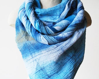 Oversized shawl, large cotton scarf, hand printed scarf, faded blues
