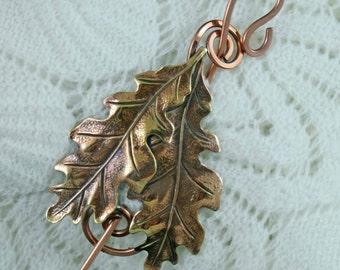 Double Oak Leaves Shawl Pin, Copper leaf pin, Bent Spoon Jewelry, Shawl pin, Scarf Pin