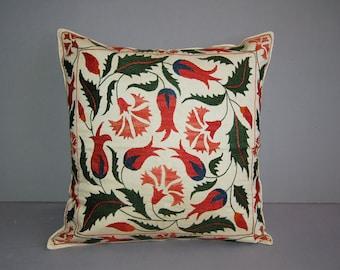 Beautiful  handmade Ottoman tulip    flowers pattern Suzani Pillow Cover cushion  original silk  embroidery 19.5 x 19.5 inch