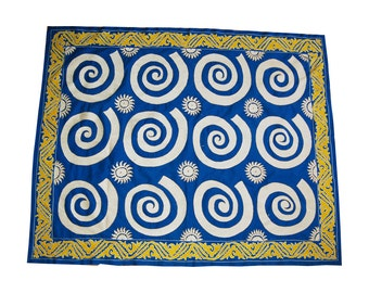 Uzbek silk hand embroidered Wall Hanging Table Cover Ethnic Suzani   with mystical astral    patern bedspread or   home wall decor bed cover