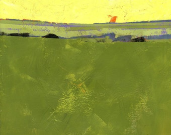Original abstract minimalist landscape painting - Hot sky over lazy fields