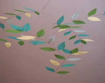 Tree Leaf Mobile Meadow Aqua Hand Dyed Silk Mobile