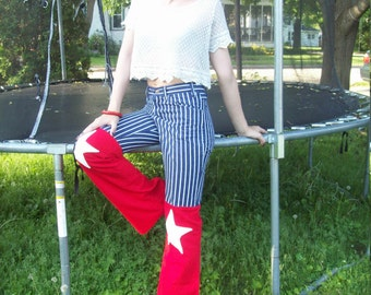 Red White And Blue Denim Hip Hugger Bellbottom Pants, Stars And Stripes 4th Of July Patriotic Jeans