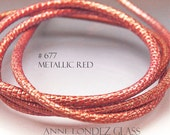 By the inch Metallic red leather cord 4 mm red printed leather imitation reptile leather red cord red Nappa leather  round cord 4 mm