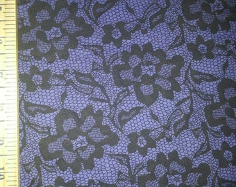 Faux Black Lace on Purple Cotton Jersey Knit Fabric