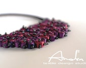 Statement necklace raspberry, bib necklace from Cloud Design Collection - Handmade textile jewelry OOAK ready to ship