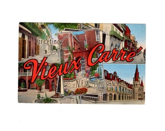 Greetings from Vieux Carre New Orleans Vintage French Quarter Postcard