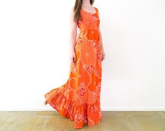 Vintage 70s Orange Hawaiian Print Cotton Maxi Dress