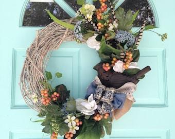 Grapevine Wreath for Summer with Primitive Bird-Primitive Wreath-Annie Gray Design-Bird Decor-Beachy Wreatjs by Annie Gray-Tin Bird
