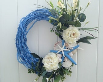 Blue Ocean Wreath with Real Starfish and Magnolia-Blue Starfish Wreath-Wedding Wreath-Beach Wreath-Beachy Wreath by Annie Gray-Beach Wedding