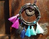 Long Delicate Rainbow Hematite Gemstone Necklace or Wrap Around Bracelet with Tassels - OOAK Boho Jewelry