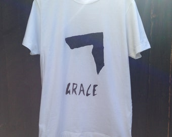 Unisex Grace Jones handprinted t-shirt.
