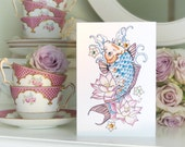 Koi Carp and Lotus Flower Tattoo Luxury Handmade birthday Card