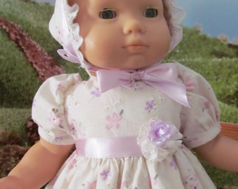 Eyelet Dress, Baby Doll dress, 15 Inch Doll Clothes, Summer Dress,  Bonnet