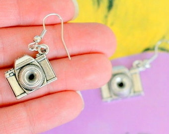 The CAMERA Earrings...gift. aztec. antique silver charm. photo. indie. photographer. retro. kitsch. boho. metal. urban. hipster. hippie.