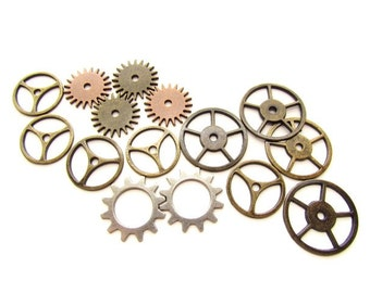 15 Mixed Metal Gear Charms / Cogs , Sprockets