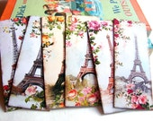 Bookmarks - Vintage Shabby Chic Paris France French Flowers Eiffel Tower Victorian European French - Set Of 6 Small Paper Bookmarks