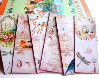 Bookmarks - Vintage Shabby Chic Garden Flowers Birds Birdcage Dragonfly Butterfly Key Eggs Honey Bee Spring - Set Of 6 Small Paper Bookmarks