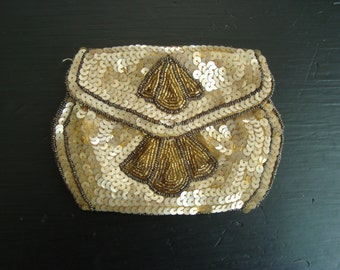 1920's Evening Bag, Flapper Sequined and Beaded Coin Purse, Dancing Clutch