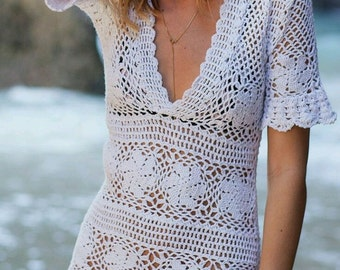 Crocheted Flower & Lace Short  V-Neck Beach Dress - MADE TO ORDER