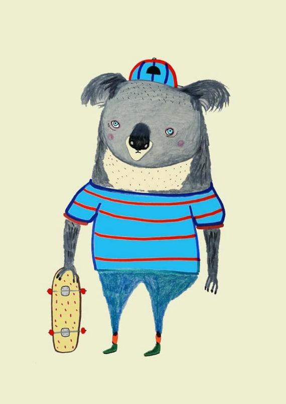 Nursery Art, decor for nursery, kids room decoration, illustration print, sloth art. 'Koala Skater'..