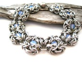 Chainmail Bracelet - Opalite Chainmaille Bracelet - Romanov Chainmaille Bracelet - Beaded Chainmaille Bracelet - Chainmail Jewellery