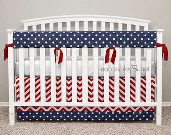 Crib Bedding Set - Crib Skirt and Teething Crib Rail Cover - Reagan1 - Red Chevron, Navy Polka Dot - TS1