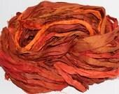 100g Recycled Sari Silk Ribbon Yarn, multi, 65 yards,   3.5 oz / 100 grams Hot Orange