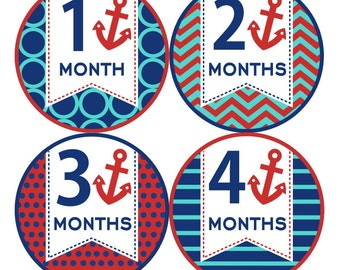 1st Year Baby Month Stickers, PLUS Just Born, Bodysuit Monthly Stickers, Baby Boy or Girl Neutral Milestone Stickers, Nautical Blue Red 003N