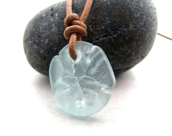Sea Glass Necklace Sanddollar Shell Seaglass Seafoam Leather Boho Necklace Recycled Eco BellinaCreations
