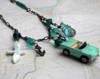 Car Necklace, Assemblage Necklace, Statement Necklace,Assemblage Upcycled Necklace,
