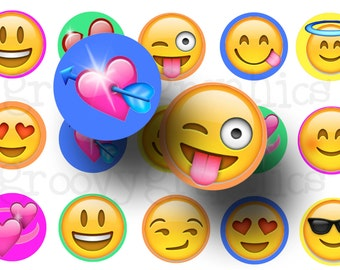 INSTANT Download Colorful Emoji 1 inch circles great for bottle caps, magnets,and more BUY 3 get 1 FREE