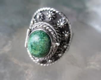 50s Vintage Mexican Sterling Poison Ring Designer 7 1/4
