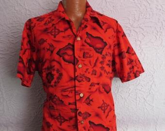60's Vintage Men's Aloha Airplane Map of Hawaii Shirt  XL