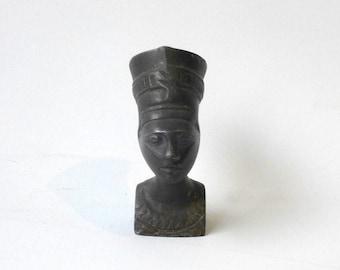 Antique collectable art deco 1920s bronze Egyptian Nefertiti bust, hood ornament, mascot