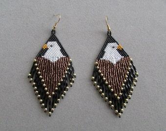Beaded Eagle Earrings