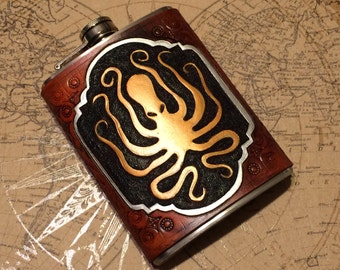 Octopus Label Steampunk Leather 8oz Hip Flask - Made to Order