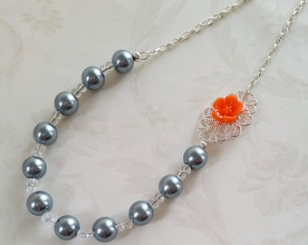 Orange and Gray Asymmetrical Flower Necklace Bridesmaid Gift Bridal Jewelry Grey Pearl Necklace Maid of Honor Gift by Joola