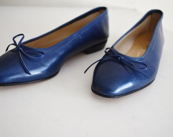 Vintage 80s 90s Italian Navy Blue Slip On Slide On Flats with Bow Tie Ballet Flat New Old Stock// womens US size 6 // Eur 36.5