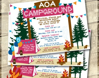 Camping Party - Camping Invitation - Girl Theme - Invitation Collection - Invite, Thank You, Labels and Envelope Seals