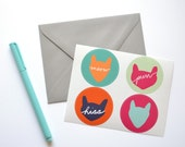 SALE - Cat Stickers - Envelope Seals - Set of 12 Stickers - Purr, Hiss, Meow Stickers