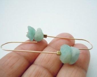 Raw Aquamarine Earrings On Gold Filled Stick Posts