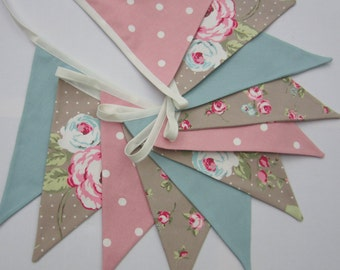 Fabric Bunting, Taupe, duck egg blue, Pennant Flag Banner, Cottage Chic, Pink Polka Dots, Weddings, Flag Garland, Double Sided, Size Options