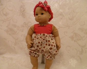 15 Inch Baby Doll Puppy Dog Romper and Headband Summer Play Outfit