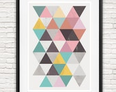 Watercolor abstract, Geometric print, mid century art, Scandinavian design, Triangle wall art, pink and teal art, home decor, multi colored