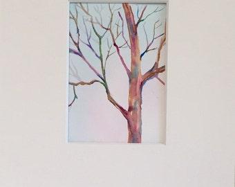 Tree Painting - Original Watercolor - Art - tree in winter - minimalist wall art - fine art home decor - seasonal landscape painting