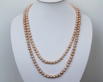 48 Inch Long 7-8mm Pink Freshwater Pearl Rope Necklace