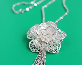Layered Sterling Silver Flower Pendant Necklace