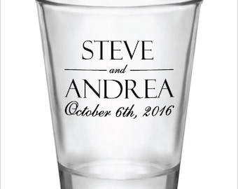 240 Personalized Wedding Favor 1.5oz Shot Glasses Custom Wedding Favors